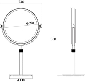 Freestanding Round Mirror Height Adjustable