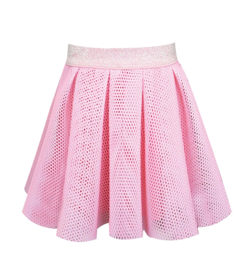 Honeycomb Pleated Skirt - Pink