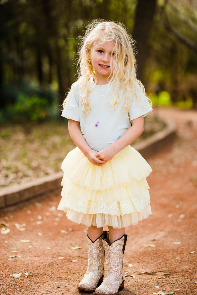 Yellow Tiered Tulle Skirt