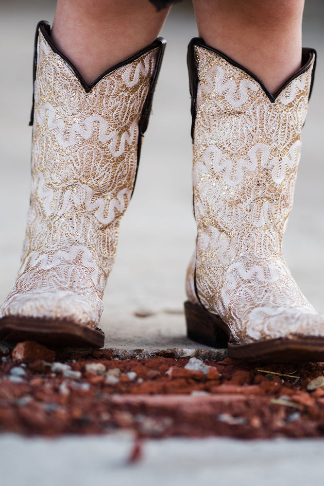 Ivory Sparkle Cowgirl Boots