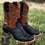 Black Caiman Belly Tail Cowboy Boots