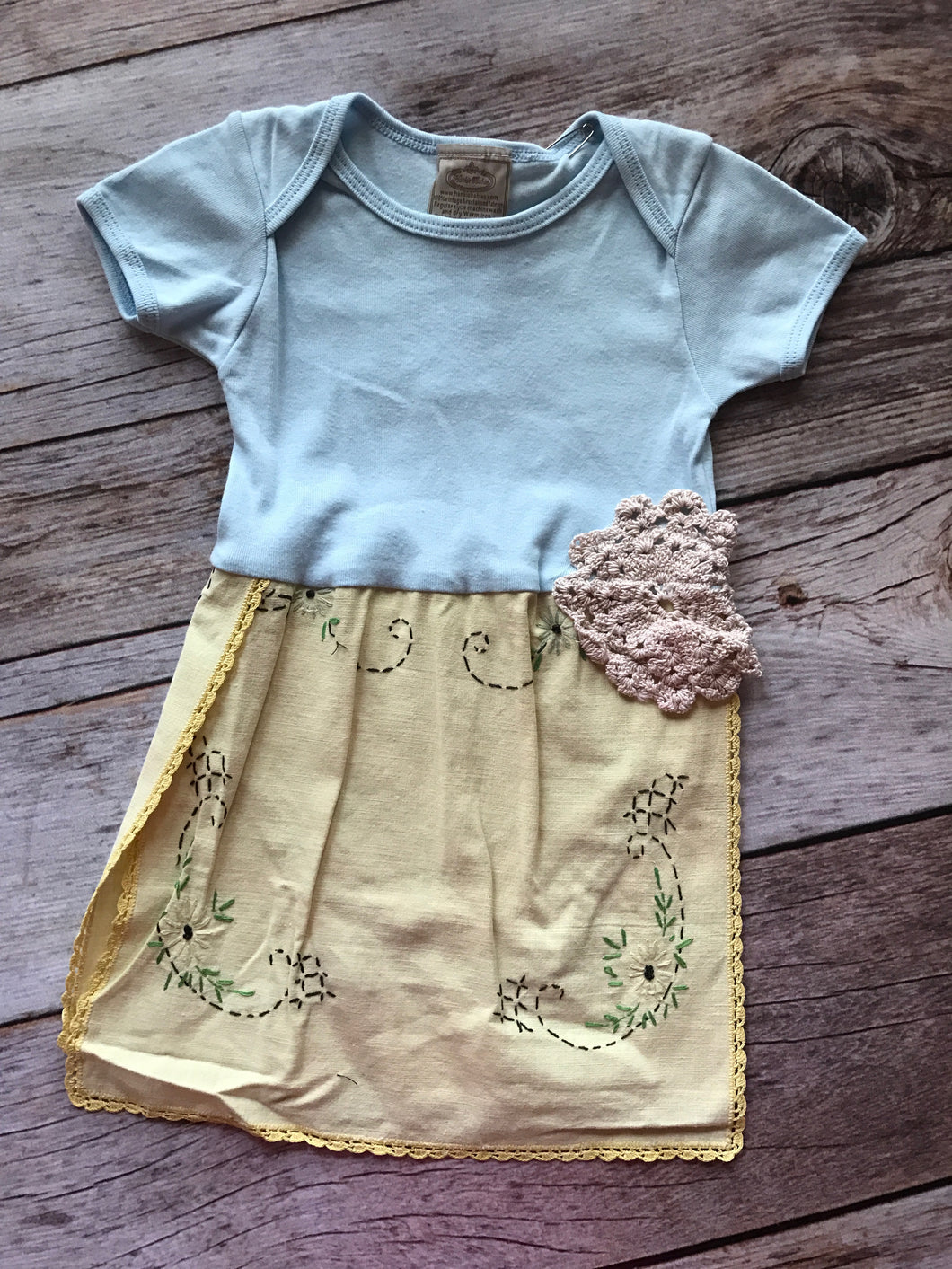 Hankie Baby- Yellow Onesie Dress