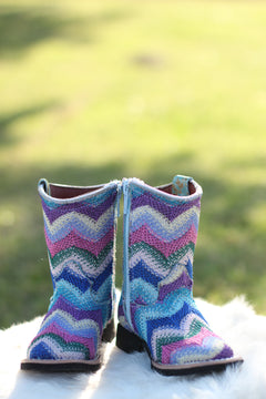Zig Zag Blue Cowgirl Boots