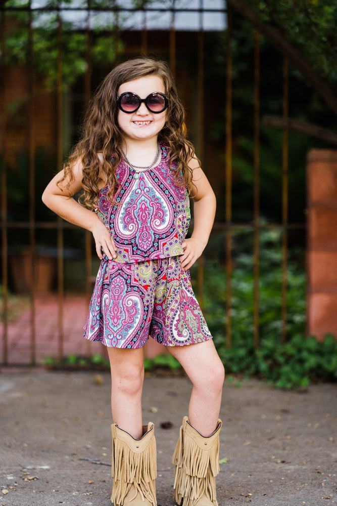 Pink Paisley Romper