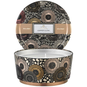 Voluspa Copper Clove 3 wick tin candle