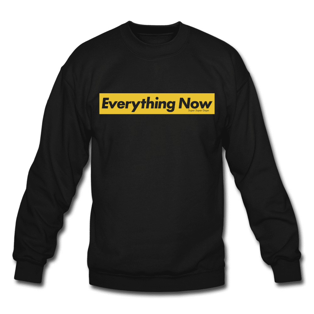 Everything Now Black Crewneck Sweatshirt With Yellow Logo Crewneck Sweatshirt SPOD