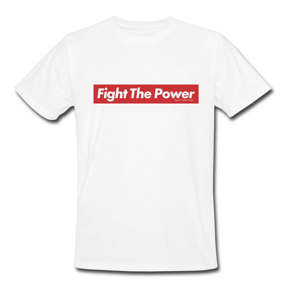 Fight The Power Red Logo White Organic T-Shirt Men's Organic T-Shirt SPOD