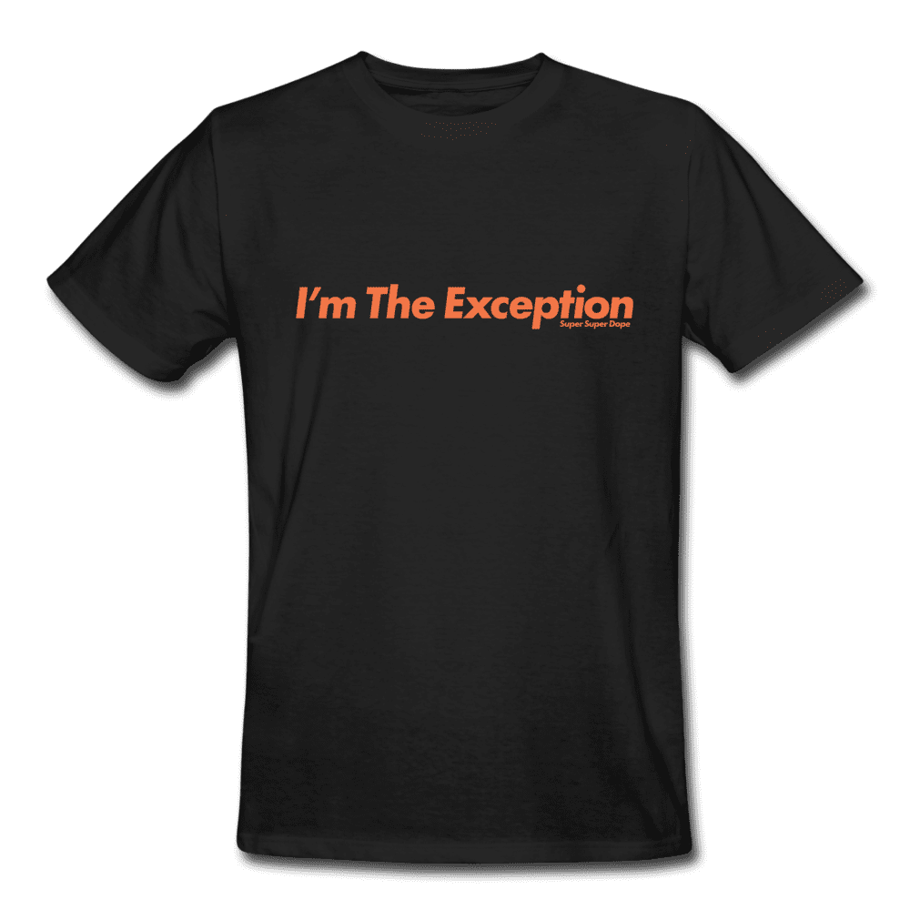 I'm The Exception Black Organic T-Shirt With Orange Logo Men's Organic T-Shirt SPOD