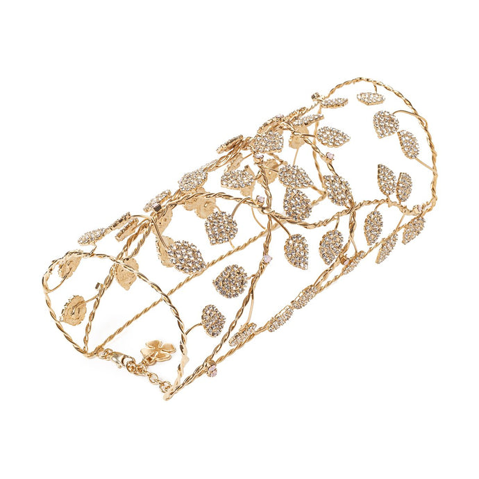vittorio ceccoli jewelry design big sculpture bracelet with leaves jewel gold and crystal leaves