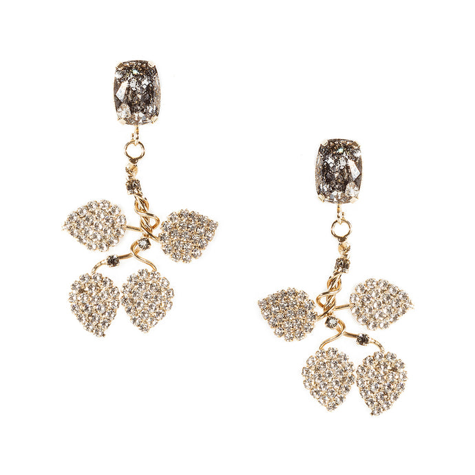 vittorio ceccoli jewelry design earrings with leaves and stone jewel gold palladium black
