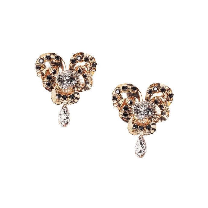 vittorio ceccoli jewelry design basic clip earrings with pansy jewel gold silver