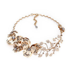 vittorio ceccoli jewelry design statement necklace with pansy and leaves jewel gold