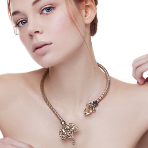 vittorio ceccoli jewelry design rigid necklace with leaves jewel gold antique silver