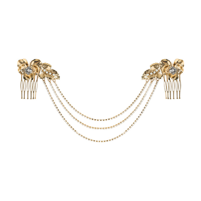 vittorio ceccoli jewelry design pansy hair accessory with combs jewel gold