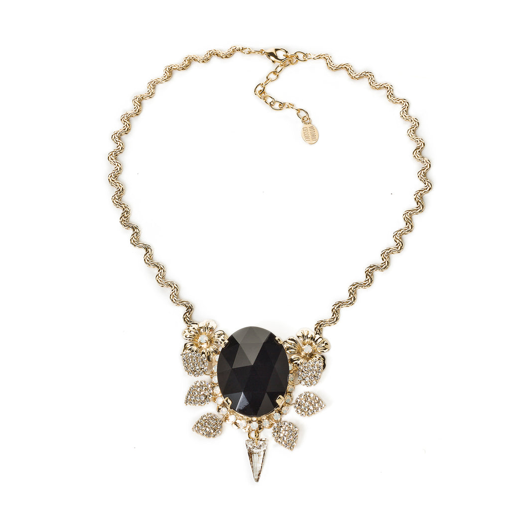vittorio ceccoli jewelry design necklace with blackstone and spikes jewel gold