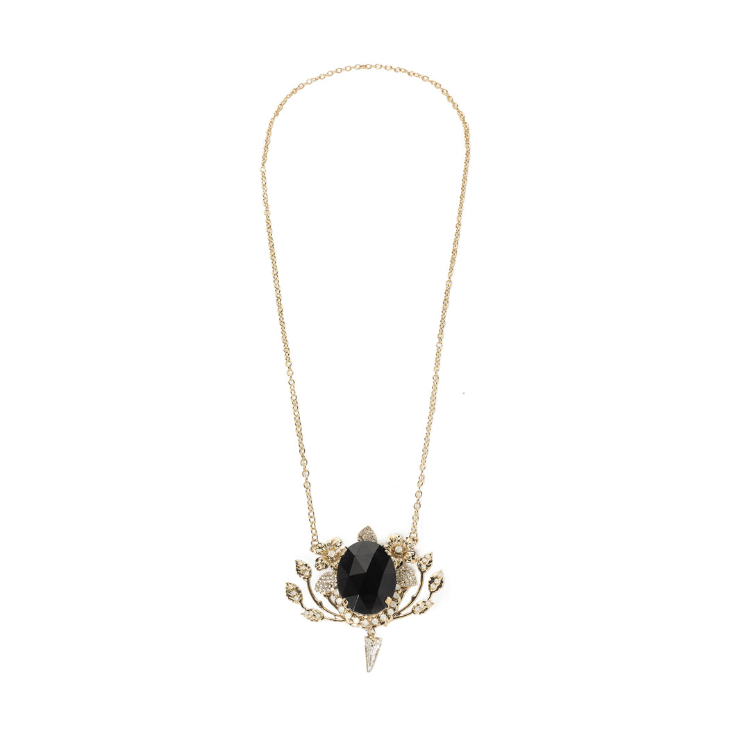 vittorio ceccoli jewelry design long necklace with blackstone and spike jewel gold antique silver