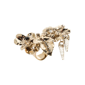 vittorio ceccoli jewelry design big ring with pansy flowers and spikes jewel gold antique silver