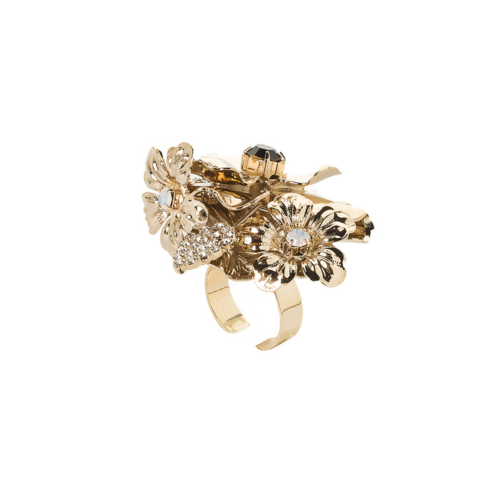 vittorio ceccoli jewelry design ring with pansy and leaves jewel gold