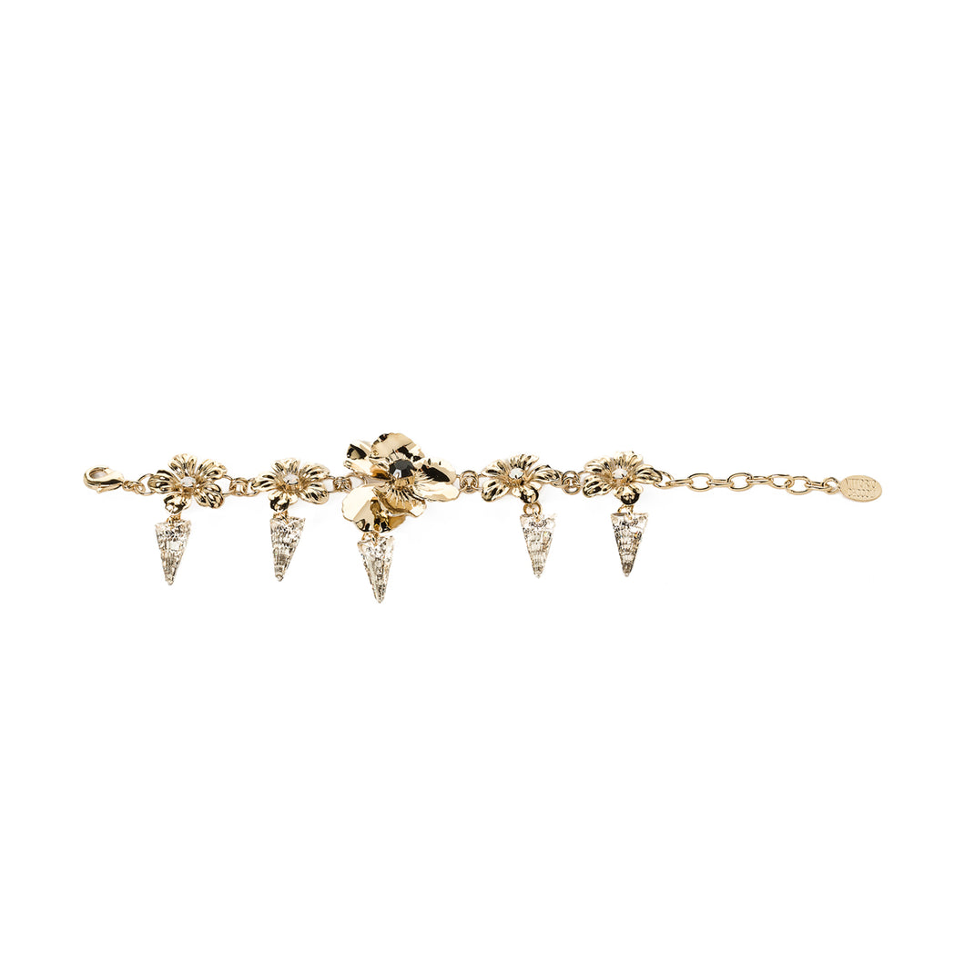 vittorio ceccoli jewelry design bracelet with pansy flowers and spikes jewel light gold antique silver