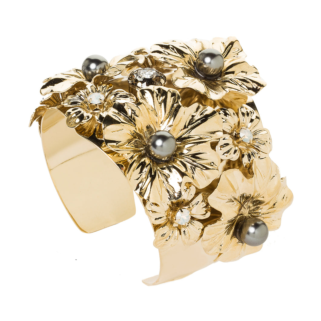 vittorio ceccoli jewelry design cuff bracelet with leaves and crystal pearls jewel gold silver black