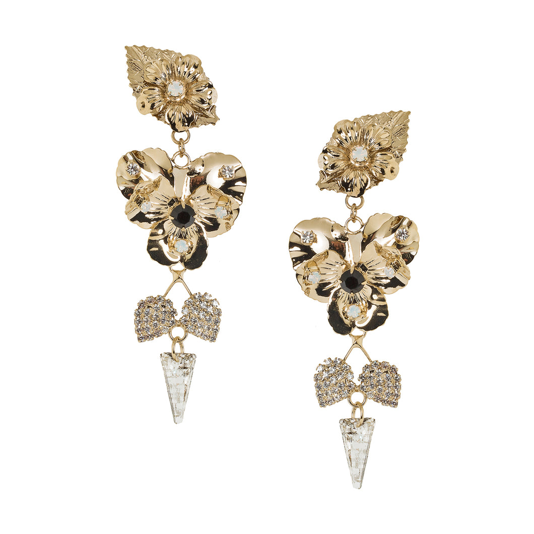 vittorio ceccoli jewelry design earring with pansy leaves and spike jewel gold antique silver