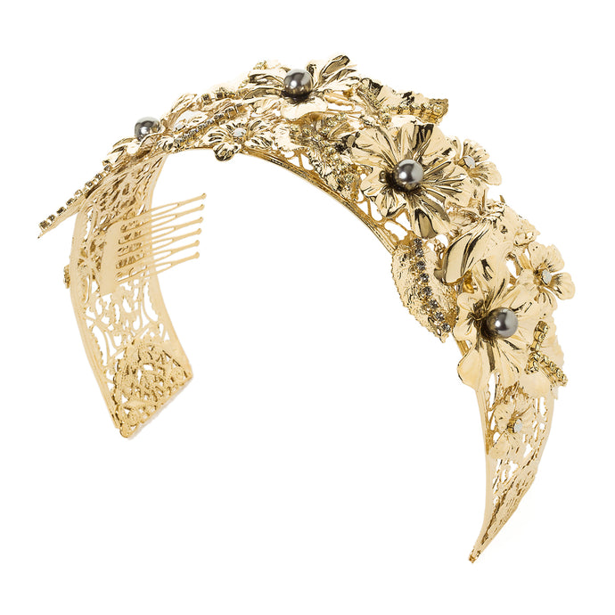 vittorio ceccoli jewelry design leaves and cicada hair accessory with pearls jewel gold silver
