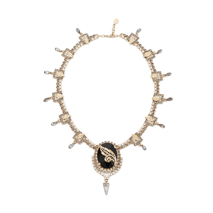 vittorio ceccoli jewelry design diadema necklace with black stone jewel gold