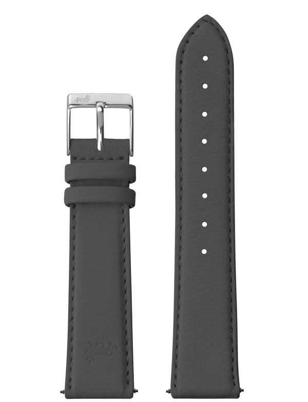 20MM DARK GREY LEATHER STRAP WITH SILVER BUCKLE