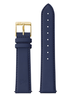 20mm Deep Blue Leather Strap with Gold Buckle