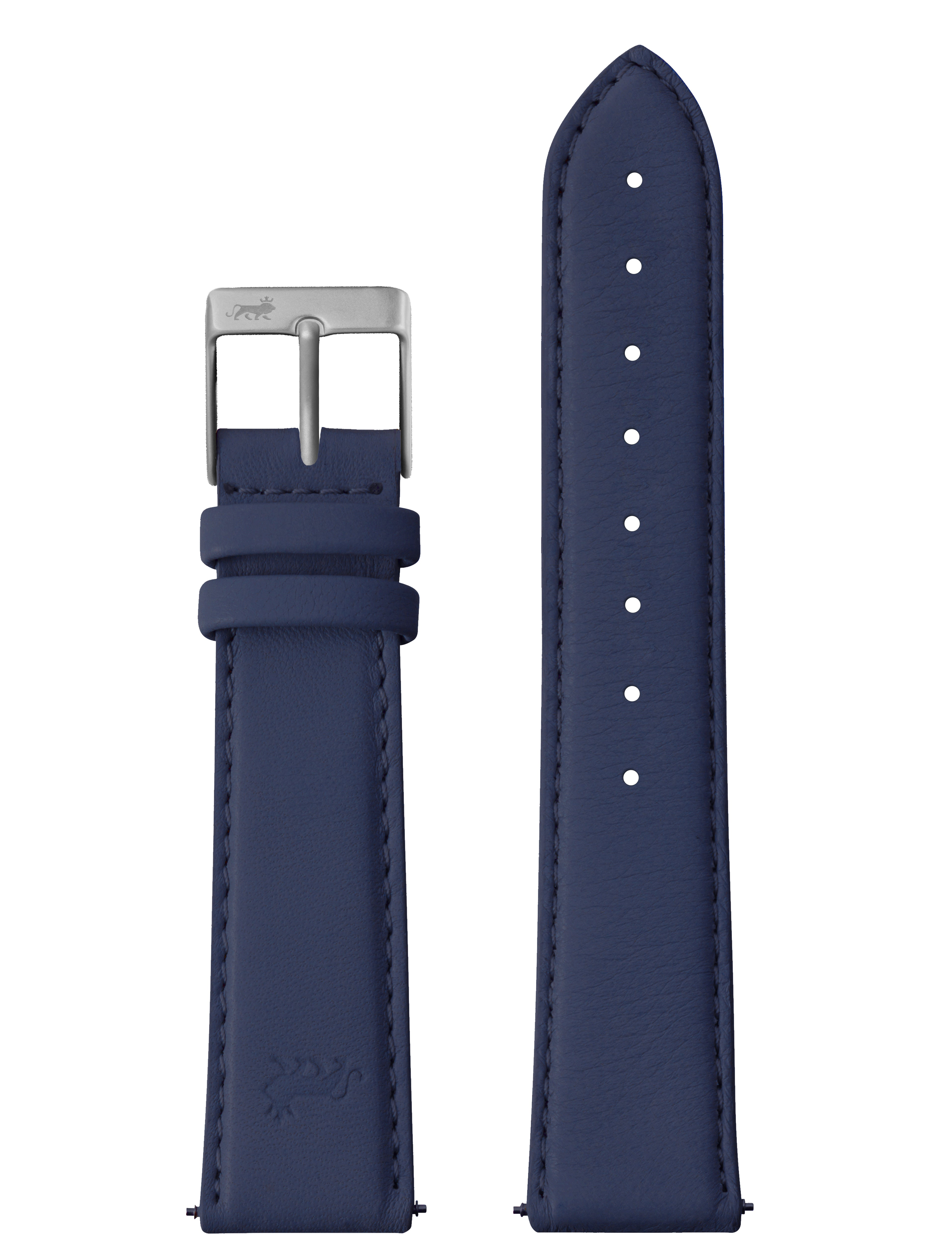 silver 20mm deep blue leather strap with silver buckle