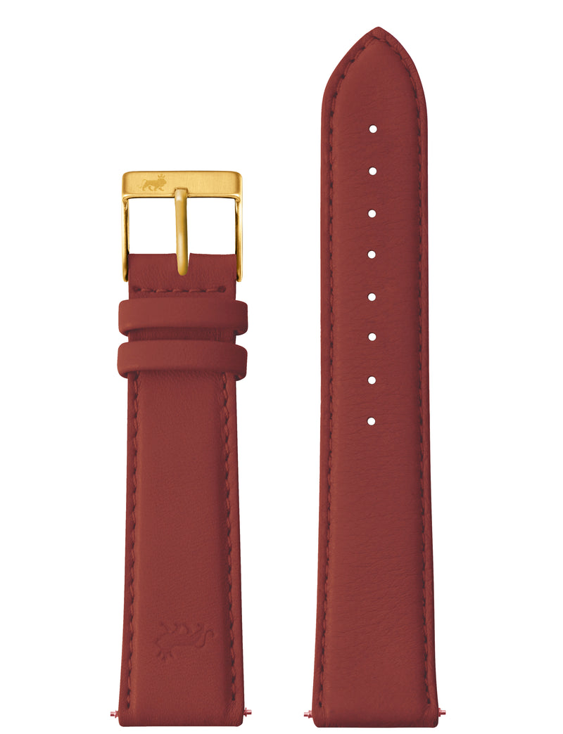20MM RED LEATHER STRAP WITH GOLD BUCKLE