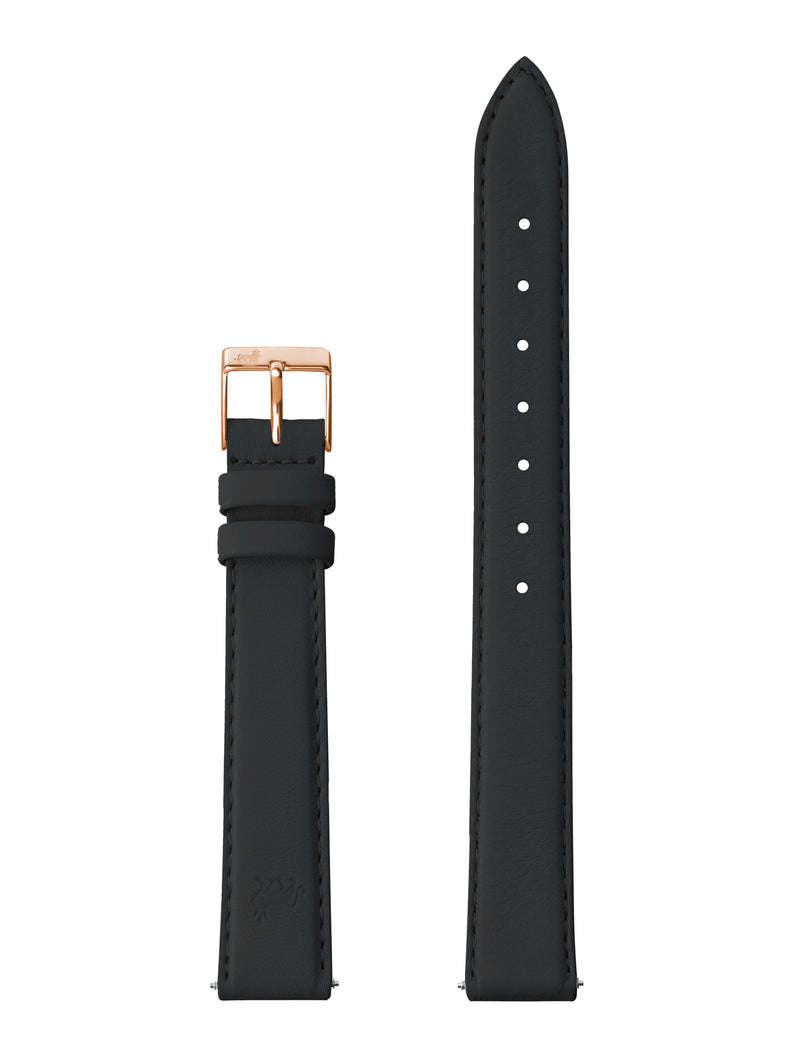 12MM BLACK LEATHER STRAP WITH ROSE GOLD BUCKLE
