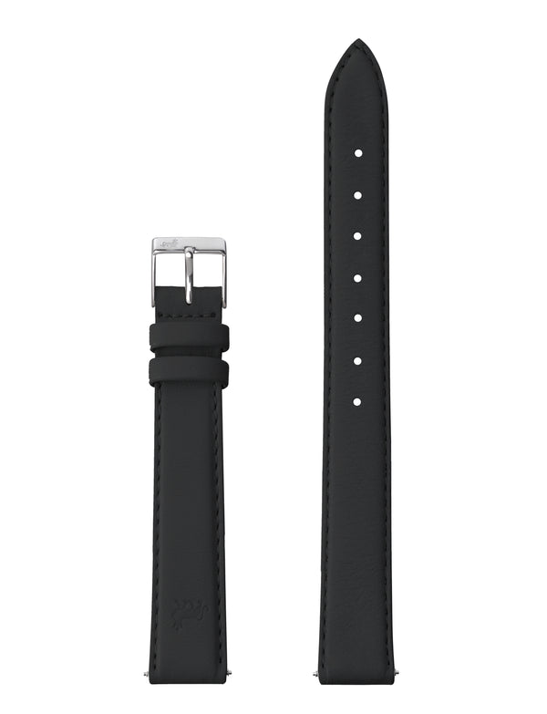 12MM BLACK LEATHER STRAP WITH SILVER BUCKLE