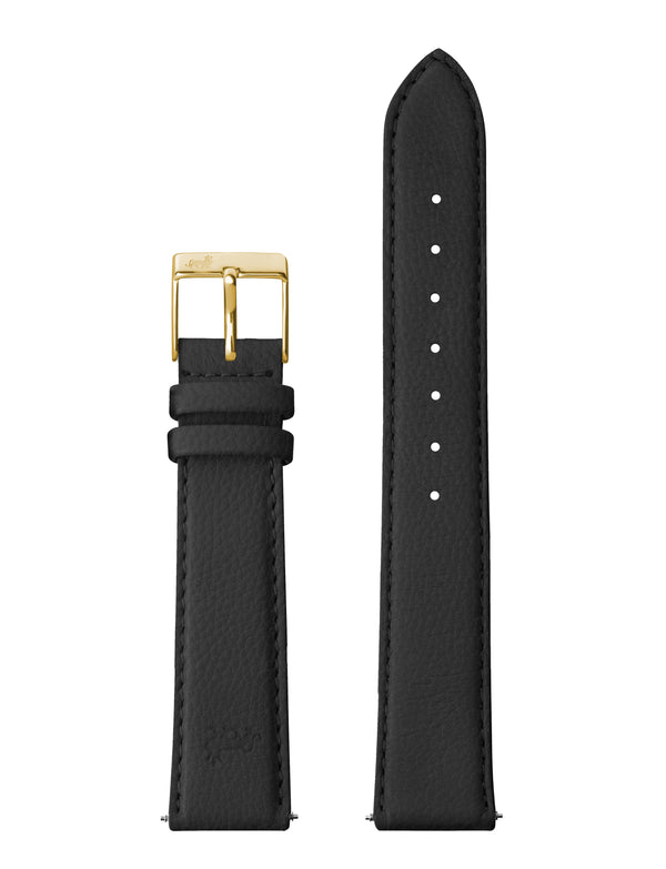 16MM GRAINY BLACK LEATHER STRAP WITH GOLD BUKLE