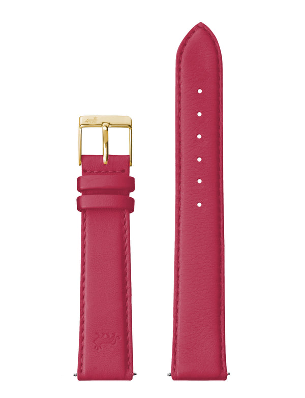 18mm Red Leather Strap with Gold Buckle