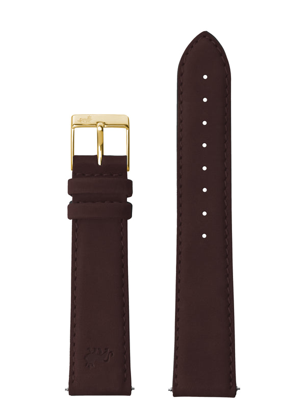 18MM BROWN LEATHER STRAP WITH GOLD BUCKLE