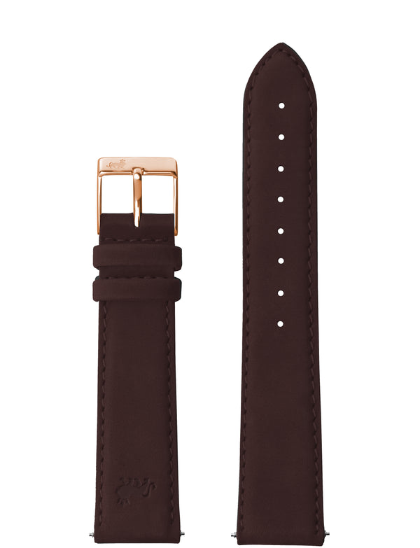 18MM BROWN LEATHER STRAP WITH ROSE GOLD BUCKLE