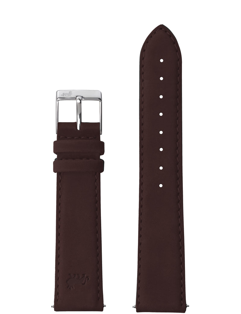 18MM BROWN LEATHER STRAP WITH SILVER BUCKLE