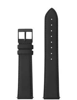 18mm Grainy Black Leather Strap with Black Buckle