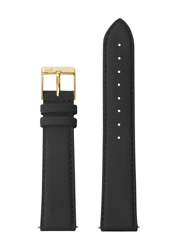 18MM GRAINY BLACK LEATHER STRAP WITH GOLD BUCKLE