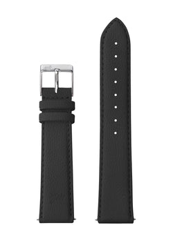 18MM GRAINY BLACK LEATHER STRAP WITH SILVER BUCKLE