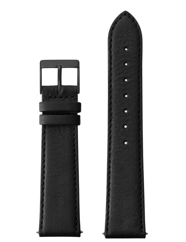 20MM BLACK LEATHER STRAP WITH BLACK BUKLE