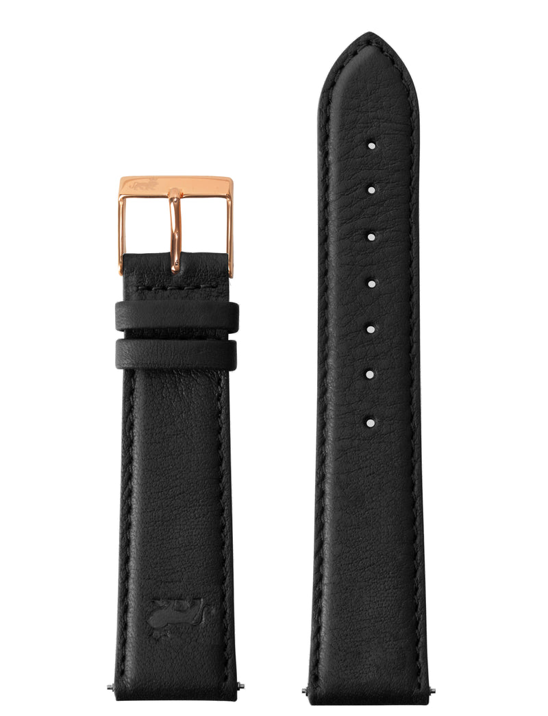 20MM BLACK LEATHER STRAP WITH ROSE GOLD BUKLE