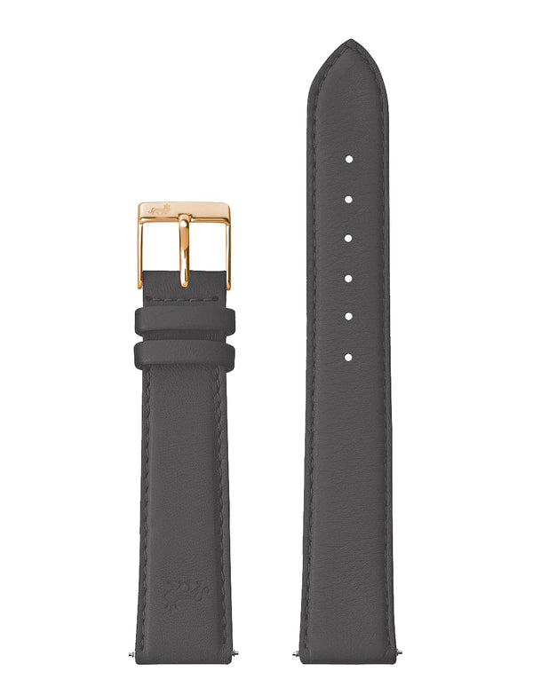 18mm Charcoal Grey Strap with Rose Gold Buckle