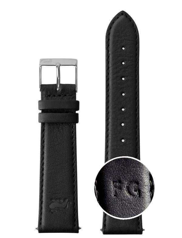20mm Black Leather Strap with Silver Buckle