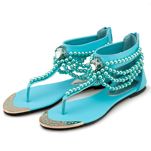 Bohemia Beaded Clip Toe Flat Casual Beach Sandal Shoes