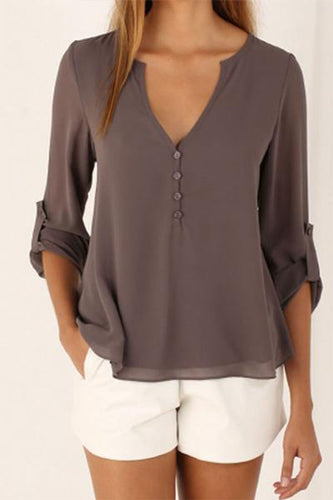 Deep V-Neck  Single Breasted Shirts&Blouses