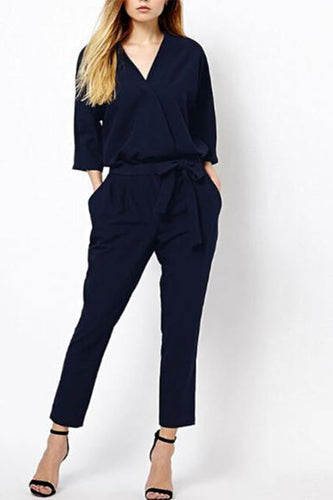 V Collar Three-Quarter Sleeves Jumpsuit
