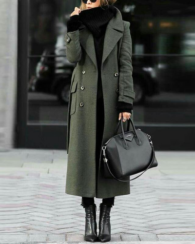 Women Classic Turn-Down Collar Elegant Trench Long Coats