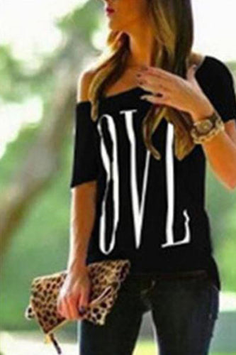 One Shoulder  Letters Short Sleeve T-Shirts
